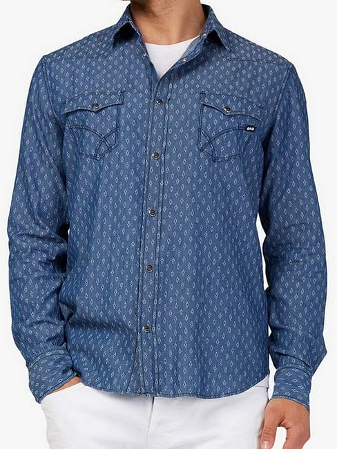 Men's Kant all over printed blue shirt
