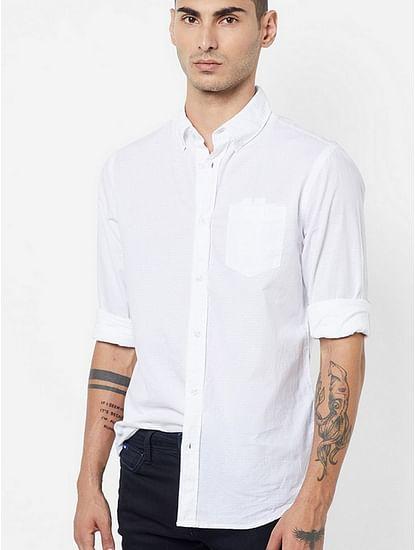 Men's Flix ss solid white shirt