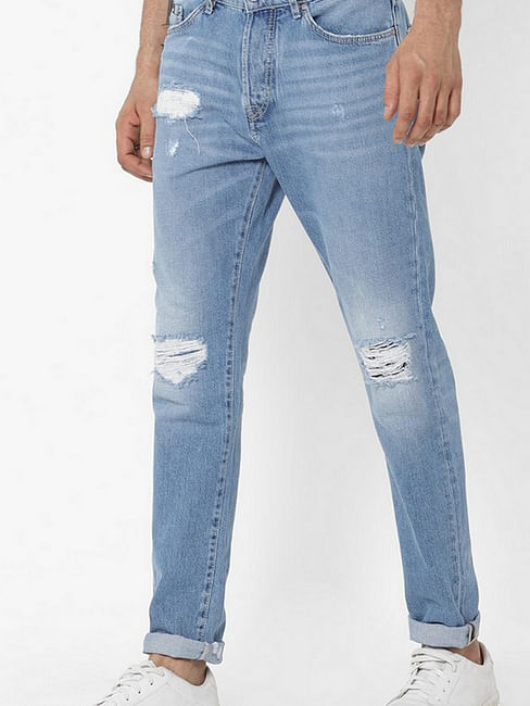 Men's Norton Carrot Fit Blue Distress Jeans