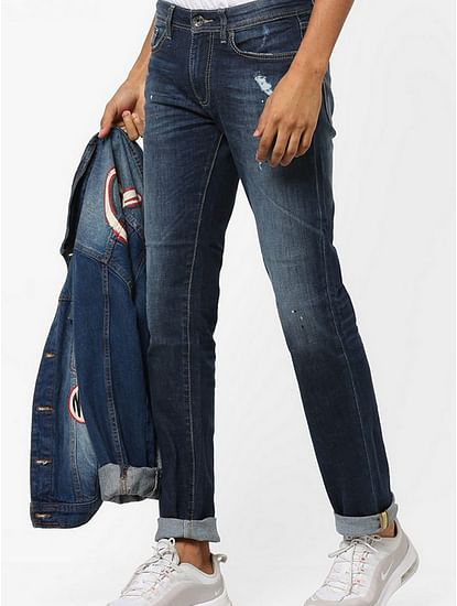 Men's Albert Simple Slim Fit Dark Blue Distressed Jeans