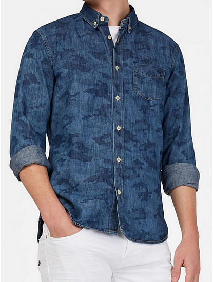 Men's Kaspar blue self design shirt