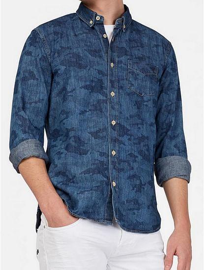Men's Kaspar blue self design shirt