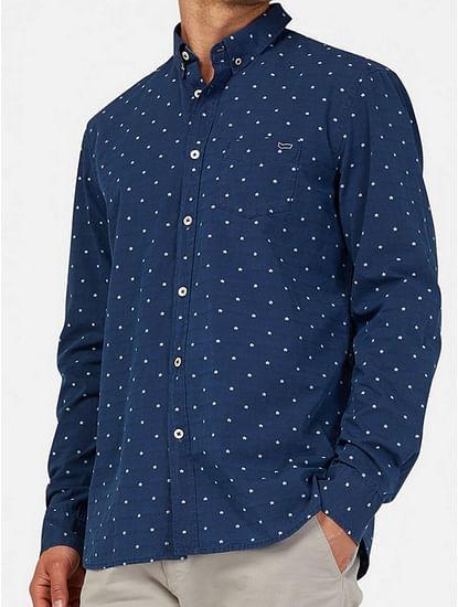 Men's Kaspar mix blue all over printed shirt