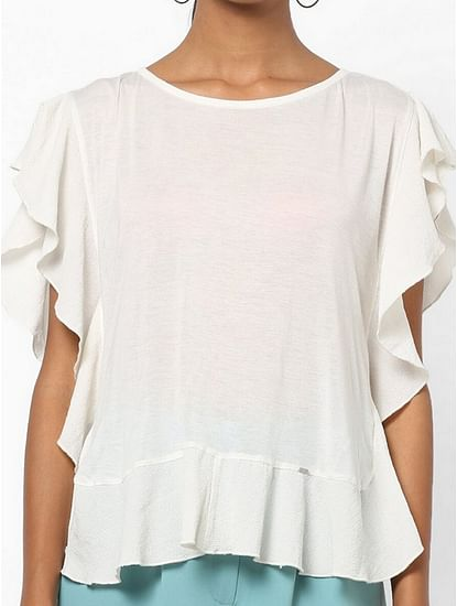 Women's regular fit round neck butterfly sleeves Annah top