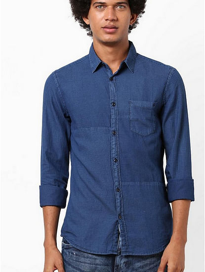 Men's Scottie patch solid blue denim shirt