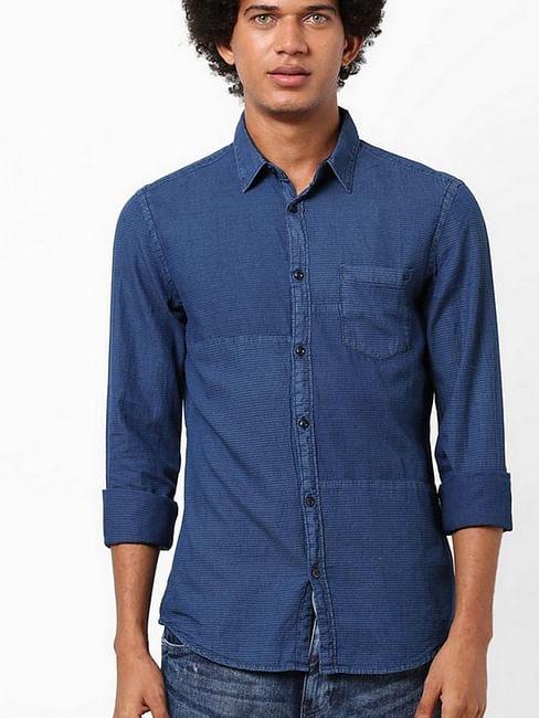 Men's Scottie patch solid blue denim shirt