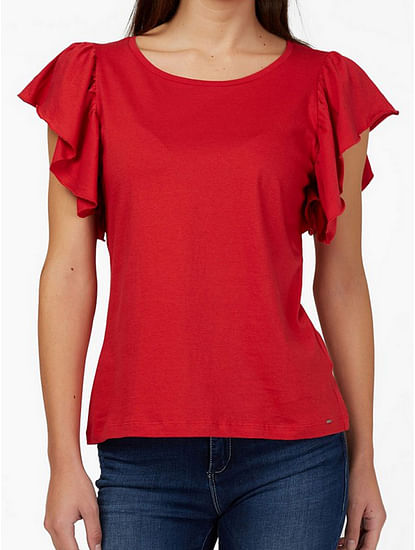 Women's regular fit round neck ruffled half sleeves Lisye top