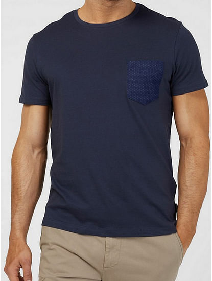 Men's Zhens solid round neck blue t-shirt