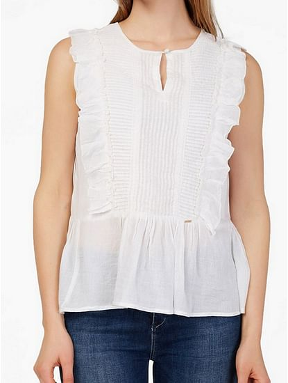 Women's regular fit round neck sleeveless Mecye top