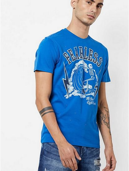 Men's Arkell/s fearless printed round neck blue t-shirt