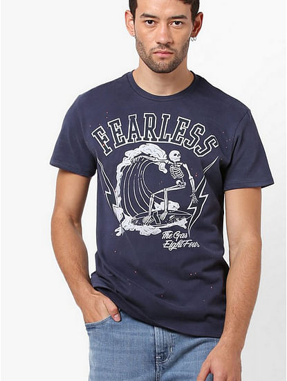 Men's Arkell/s fearless printed round neck navy blue t-shirt