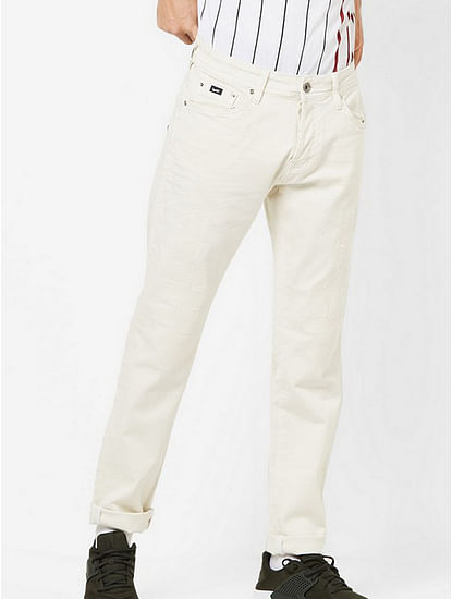 Men's Norton Carrot Fit Off-white Jeans