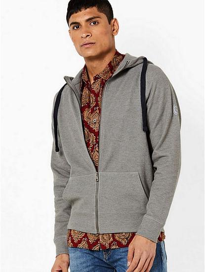 Men's Eberh solid open hooded grey sweatshirt