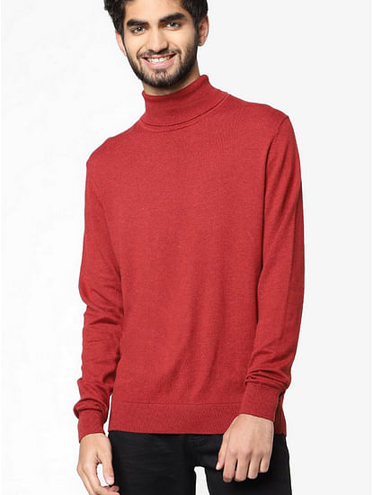 Men's Aryon solid turtle neck brown pullover