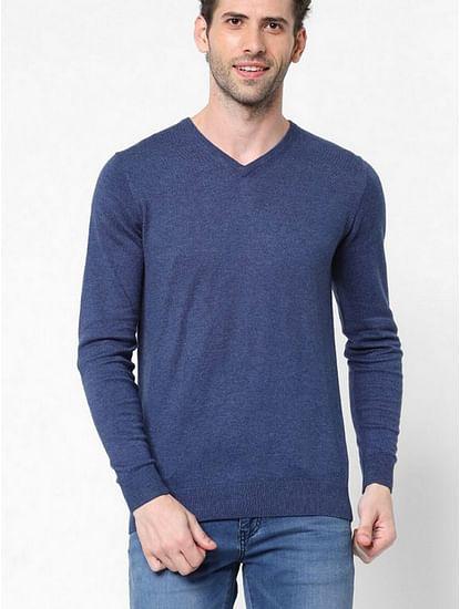 Men's Aryon solid V neck blue sweater