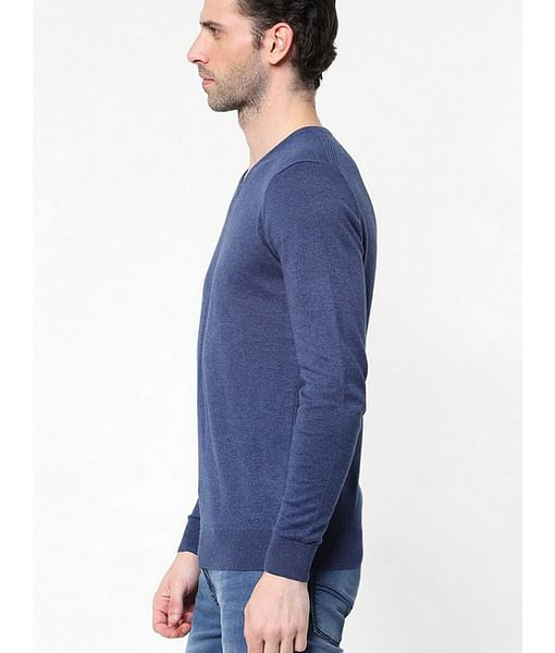 Men's Aryon solid V neck blue sweater