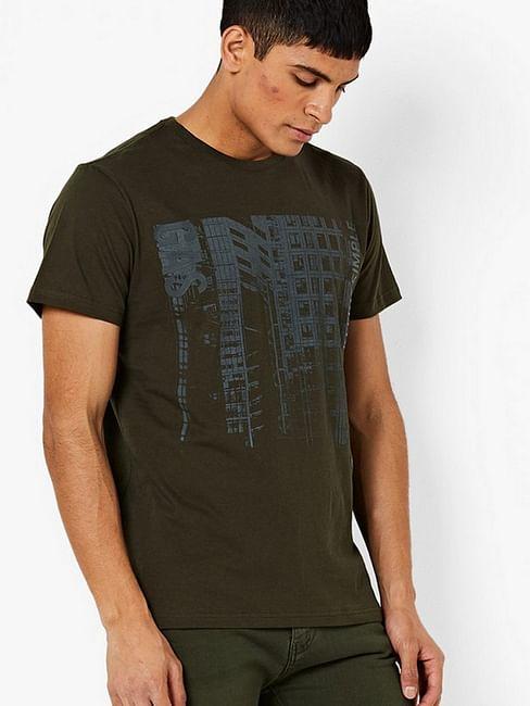 men's scuba/s simple printed crew neck green t-shirt