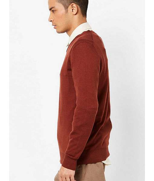 Men's Jonnye solid V neck brown pullover