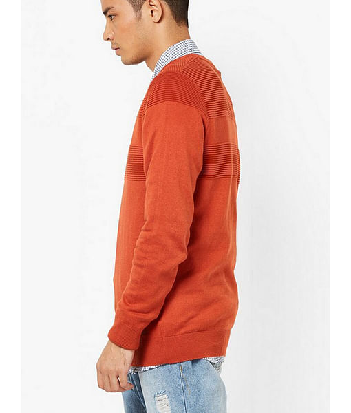 Men's Evald self striped orange crew neck pullover