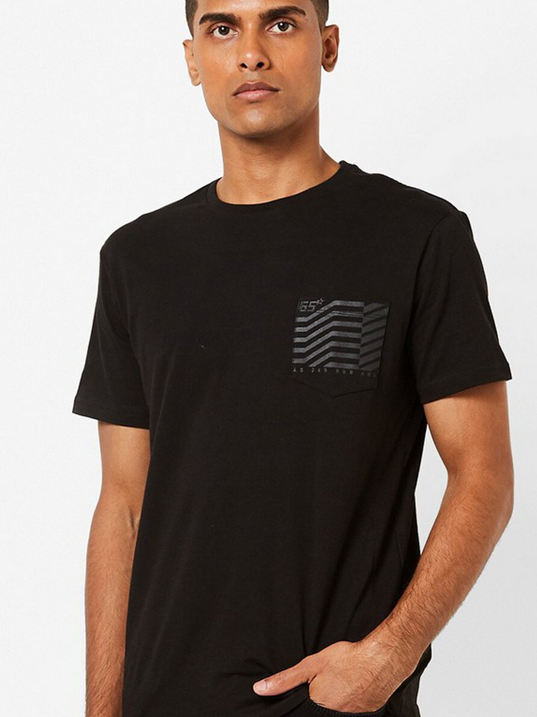 Men's Geryg/s patch pocket crew neck black t-shirt