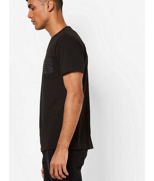 Men's Geryg/s patch pocket crew neck black t-shirt