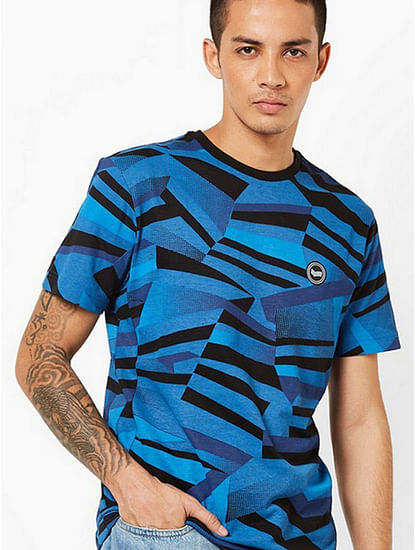 Men's Geryg/s printed crew neck blue t-shirt
