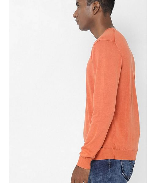 Men's Lendy solid round neck orange pullover