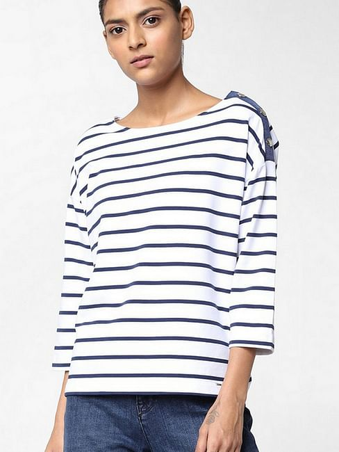 Women's regular fit round neck full sleeved striped Sintya button top