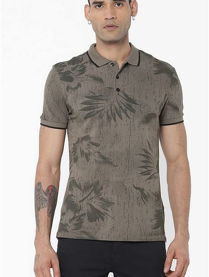 Men's Babur/s printed green polo t-shirt
