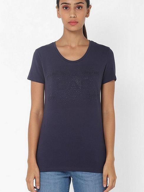 Women's slim fit round neck half sleeves embellished Doll GAS shiny matt top