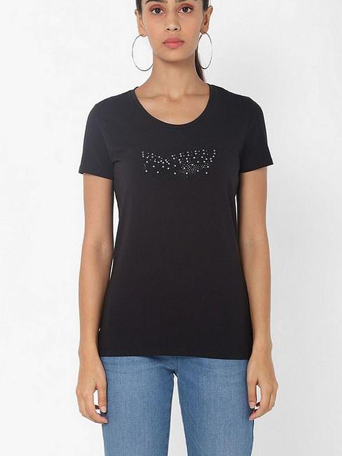 Women's slim fit round neck half sleeves embellished Doll logo shaded