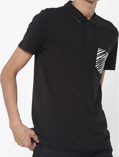 Men's Yoyo/s patch pocket  black polo t-shirt