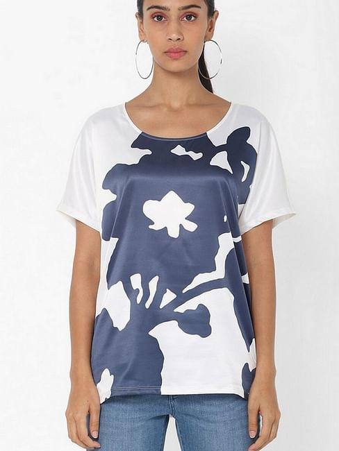 Women's regular fit round neck half sleeves printed Melyn big flower top