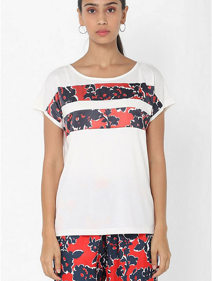 Women's regular fit round neck half sleeves printed Yaela marine flower top