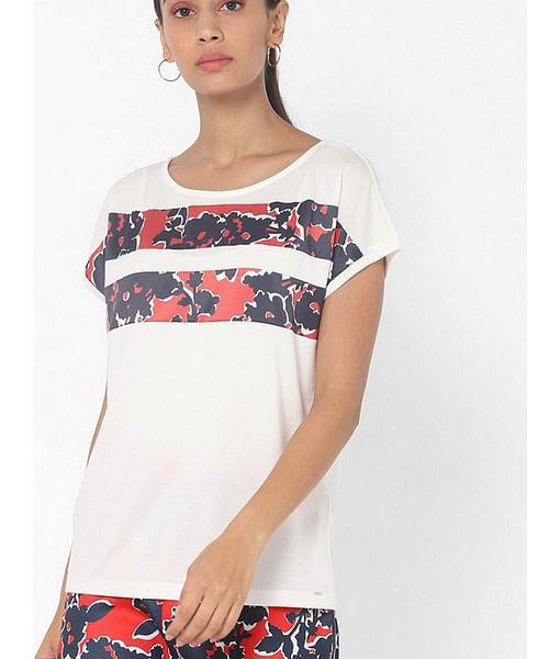 Women's regular fit round neck half sleeves printed Yaela marine flower top