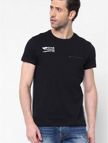 Men's Keef/r printed round neck black t-shirt