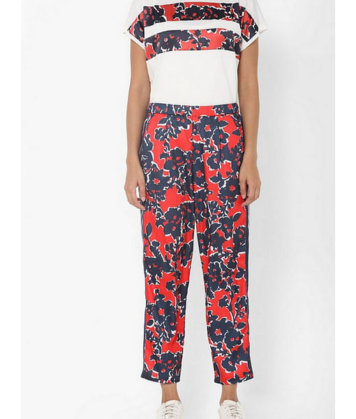 Women's regular fit mid rise printed Jimmye tape trousers