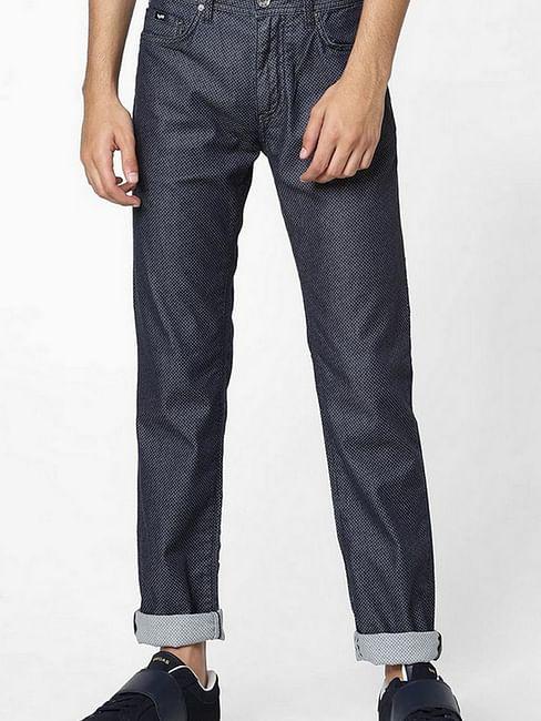 Men's Albert Simple Slim Fit Textured Blue Jeans