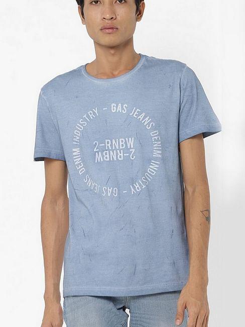 Men's Jahn printed round neck blue t-shirt