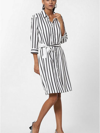 Women's regular fit collared full sleeve striped Maree dress