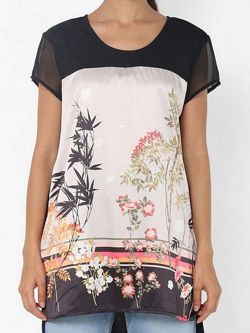 Women's regular fit round neck half sleeves printed Himma flowering top