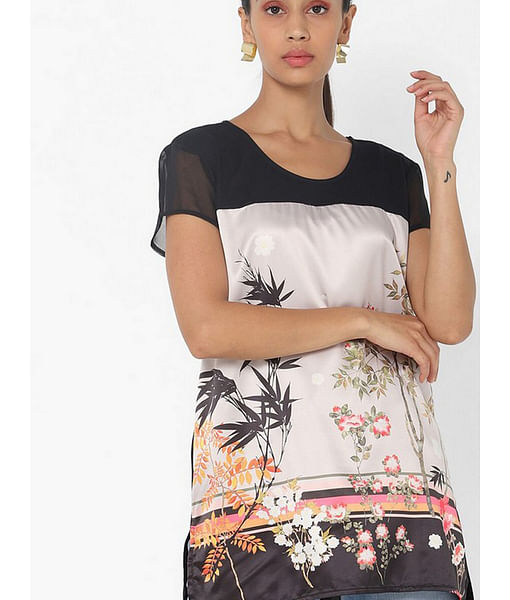 Women's regular fit round neck half sleeves printed Himma flowering top