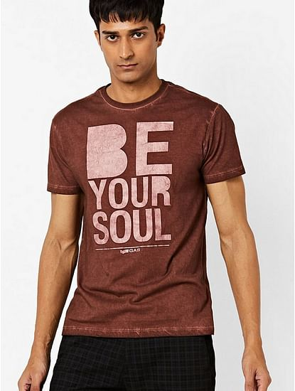 Typographic Print Slim Fit Crew-Neck T-shirt