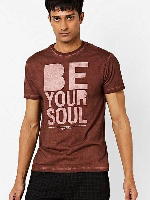 Typographic Print Slim Fit Crew-Neck T-shirt
