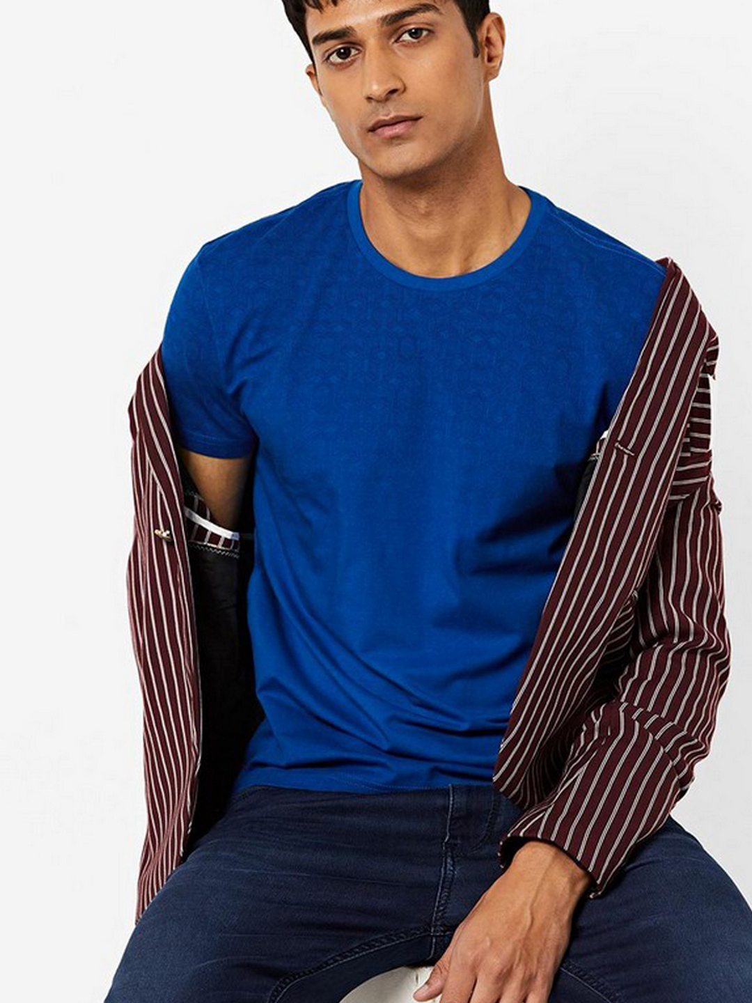 Men's Scuba printed crew neck blue t-shirt