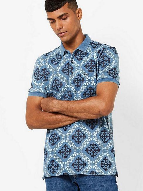 Men's Ralph indigo all over printed blue polo t-shirt