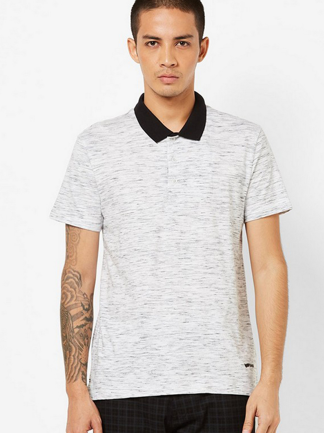 Heathered Slim Fit Polo T-shirt with Step Hem