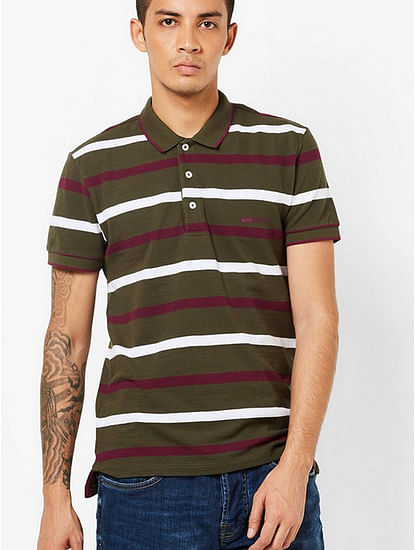 Men's Ralph green stripes polo t-shirt