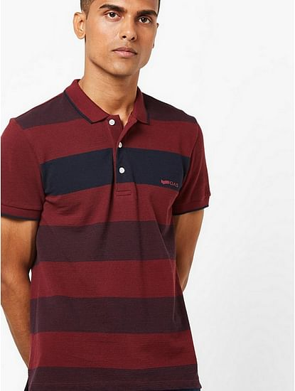 Men's Ralph maroon stripes polo t-shirt