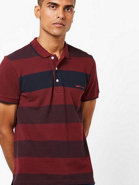 Men's Ralph maroon stripes polo t-shirt